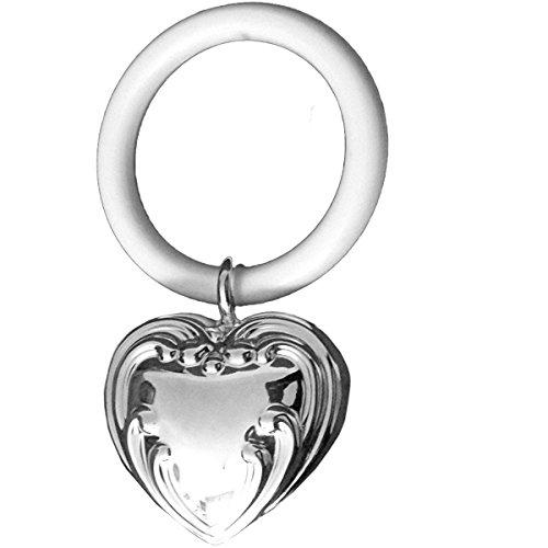 silberkanne Kinderrassel mit Beissring Herz L 9 cm Silber Plated versilbert in Premium Verarbeitung