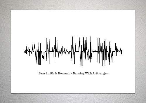 Sam Smith & Normani – Dancing With A Stranger – Sound Wave Song Kunstdruck – A4 Größe