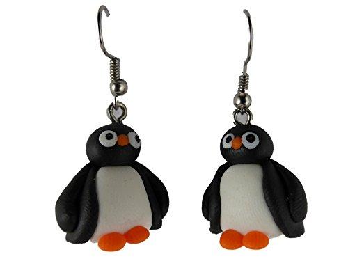 Ohrringe Ohrhänger Hänger handgemacht Pinguin Antarktis Eis Schnee 8063