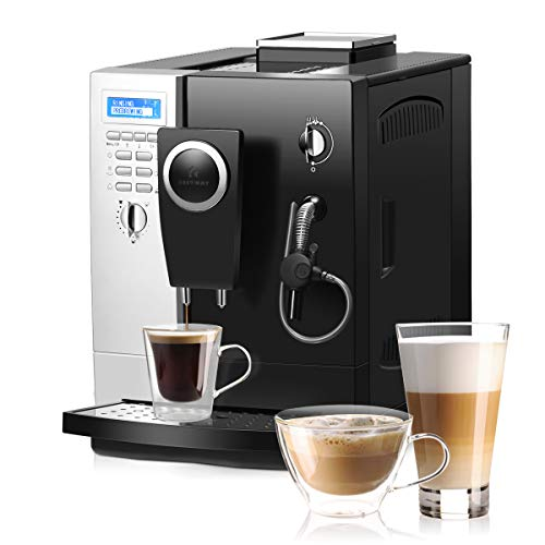 COSTWAY Super Automatic Espresso Machine, All-In-One Design, 19 Bar Pump, Built-In Milk Frother & Steamer, Stainless Steel Removable Water Tank and Drip Tray, Frothing for Cappuccino and Latte, Barista Touch Coffee Machine (Silver+ Black)