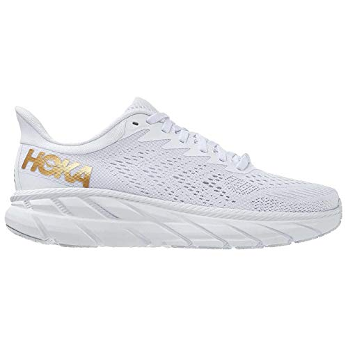 Hoka One One Hombre Clifton 7 Textile Synthetic White Golden Egg Entrenadores 45 1/3 EU