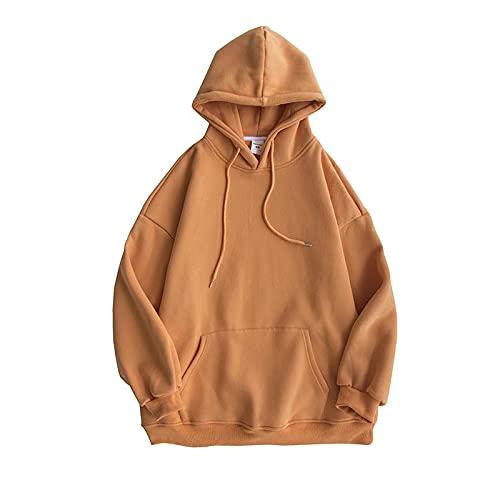 dagui Suéter de Color Liso para Mujer Primavera y otoño Sudadera con Capucha Naranja XL