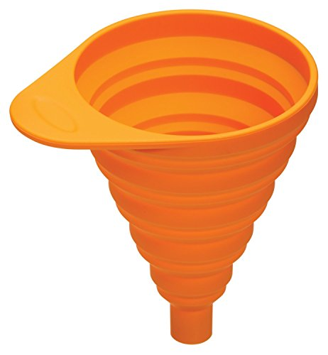 Qinlee Silikon Trichter Faltbarer Spirale Stil Trichter Liquid Getrennt Gerät Küche/Labor/Garage/Auto Trichter Zubehör (Orange)