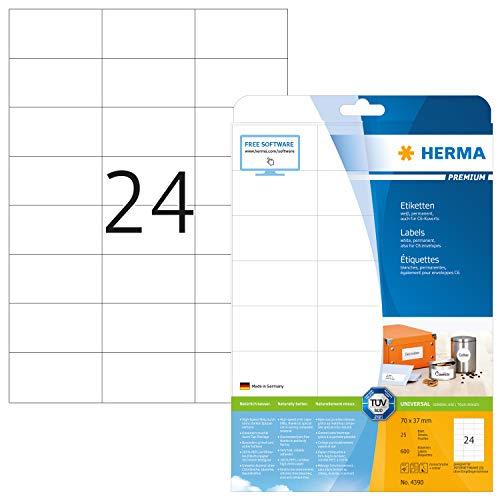 HERMA 4390 Adressaufkleber DIN A4 (70 x 37 mm, 25 Blatt, Papier, matt) selbstklebend, bedruckbar, permanent haftende Universal Etiketten, 600 Klebeetiketten, weiß