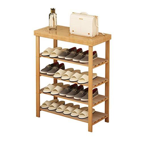 ZZYE Zapatero Zapato Botas Botas Banco Mueble Mueble Sólido 4 Tier Entrada Simple Moderno Organizador Armboo Bambú Perchero Zapatero
