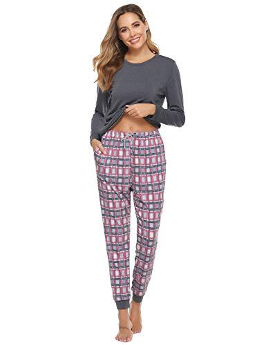 Aibrou dames pyjama pyjama lange tweedelige nachtkleding huispak slaapwear katoen lange mouwen ronde hals met geruit broek