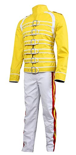 Fashion_First Freddie Mercury Queen Concert - Chaqueta de algodón para hombre, color amarillo Amarillo Freddie Mercury Pantalones XL