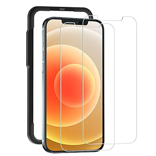 【Amazon限定ブラント】 日丸素材 ガラスフィルム iPhone 12 / iPhone 12 pro 用 強化ガラス液晶保護フィルム 【ガイド枠付き】 【2枚セット】