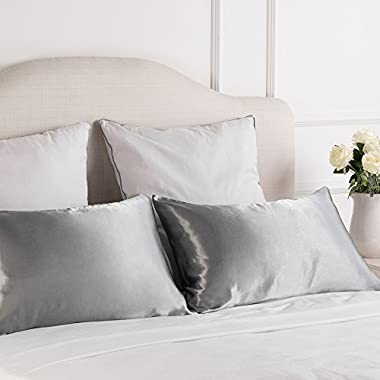 Bedsure TWO-Pack Satin Pillowcases Set for Hair COOL and EASY TO WASH Standard Size/Queen Size 20x30 Silver Grey with Envelope Closure