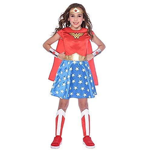 Girl's Classic Retro Wonder Woman Costume with dress, detachable cape, leg covers, wrist covers, and jewel headband. Ages 3 to 12 years