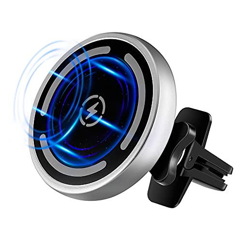 15W Magnetic Wireless Car Charger for iPhone 12/12 Pro/12 Pro Max/12 Mini,15W/10W/7.5W/5W Auto-Alignment Air Vent Car Charger Holder Mount,Compatible with MagSafe Magnetic Charging