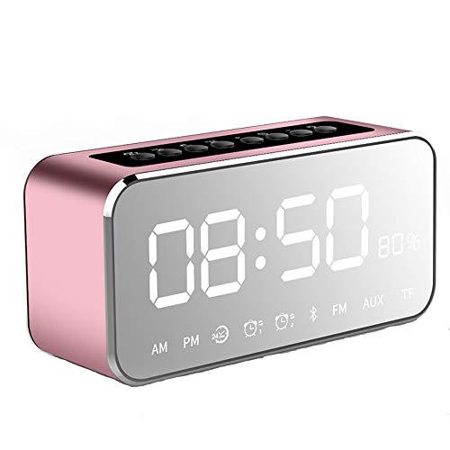Digitale wekkerradio met bluetooth-luidspreker, led-digitale klokken, Bedside met spiegelalarm, draagbare radio, dimbaar, snooze voor thuis of op kantoor roze
