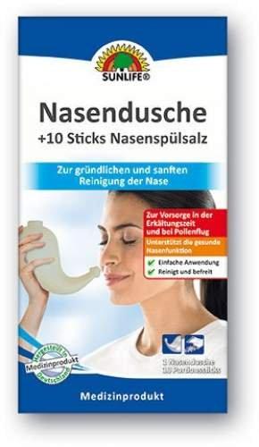 SUNLIFE Nasenspülsalz und Sunlife Einkaufswagenchip (60+10 Sticks mit Nasendusche)