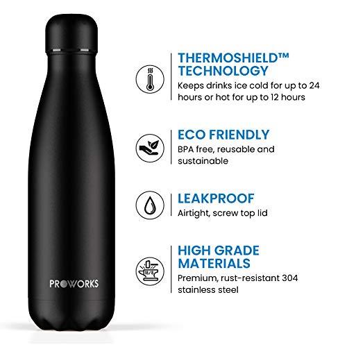 Proworks Bottiglia Acqua in Acciaio Inox, Senza BPA Vuoto Isolato Borraccia Termica in Metallo per Bevande Calde per 12 Ore & Fredde 24 Ore, Borraccia per Sport e Palestra - 750ml - Tutto Nero