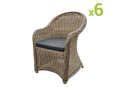 Au jardin de Chloé CLEA Lot de 6 fauteuils de Jardin en résine tressée Ronde Collection Prestige, Osier Naturel