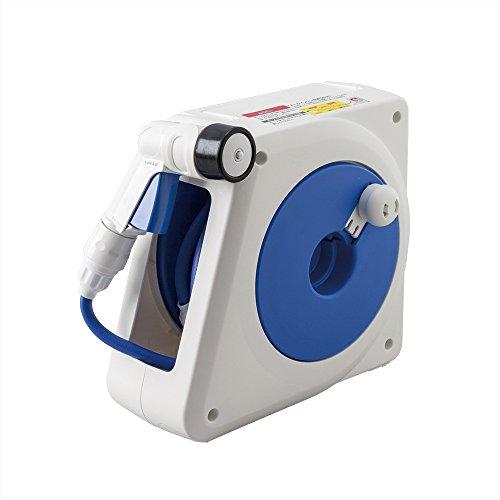 Takagi Kompakte Schlauchtrommel mit Wandhalterung | 4 Strahlarten | 100% Dicht & Tropfsicher | Blau/Weiß/Schwarz, 10 m, 28 x 14.1 x 25.4 cm