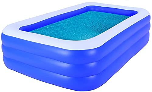 Piscina inflable por encima del suelo 120 pulgadas x 72 pulgadas x 23.6 pulgadas piscinas para adultos niños patio trasero explota al aire libre piscina rectangular grande familia