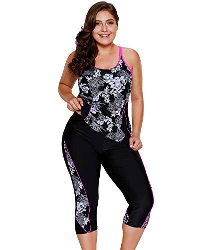 LALAGEN Women's Plus Size Rash Guard Capris Tankini Athletic Swimwear Floral XXXL