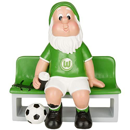 Der VfL Wolfsburg Gartenzwerg wartet mit einer Trinkflasche ausgestattet auf der Ersatzbank auf seinen Einsatz. In den Vereinsfarben gehalten ist er ein Muss für alle Fans, die bereit sind jederzeit Alles für ihren VfL Wolfsburg zu geben! Material: Polyresin Größe: 17.8 x 9.2 x 19cm