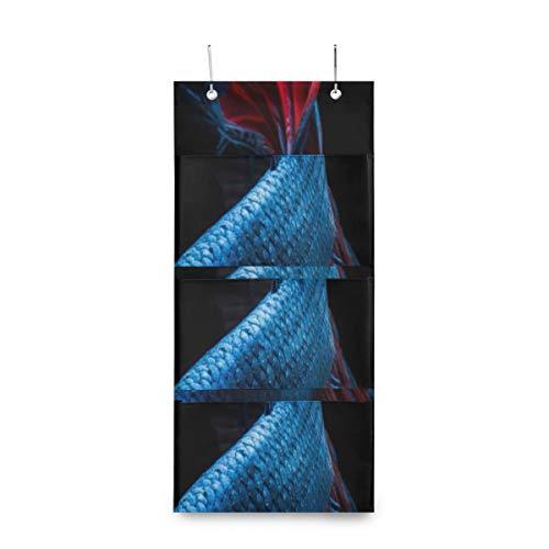 Bolsas de almacenamiento colgantes para el aula Luchador siamés azul Bolsa de almacenamiento en la pared Armario Organizadores colgantes y almacenamiento con 4 bolsillos para despensa Cuarto de niños