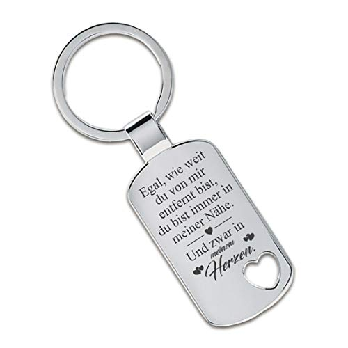 Lieblingsmensch Schlüsselanhänger Modell: Egal, wie weit du von Mir entfernt bist ... - Ausgestanztes Herz