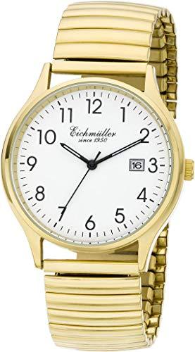 Eichmüller Herrenuhr Flexband Zugband Uhr Edelstahl IPG (Ionenbeschichtung) poliert 5ATM mit Datum