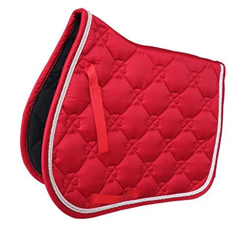 T TOOYFUL Tapis de Selle en Coton Matelassé équitation Cheval Tapis Forme Ergonomique - Rouge - Rouge, 69x52cm