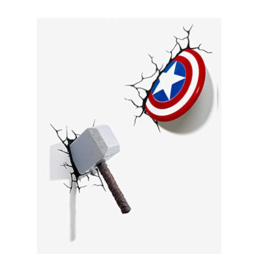 Miracle Avengers Wall Lamp Iron Man Hulk Spider Man Hand Head 3D Captain America Shield Raytheon Hammer Creative Wall Lamp Decorating Light Bedroom Children's Room (Captain America Shield+Thor hammer)