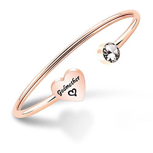 ENSIANTH, braccialetto per madrina, regalo per battesimo, regalo religioso e Acciaio inossidabile, colore: Braccialetto madrina in oro rosa, cod. NA