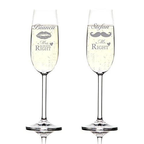 Juego de 2Montana Copas de champán (Incluye grabado Diseño–mr. Right y Mrs. Always Right