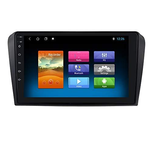 hizpo 9 Zoll Touchscreen Autoradio Kompatibel mit Mazda 3 2004-2009 Android 10 Autoradio mit Bluetooth Navi 1+16GB Dab Autoradio Adapter Wi-Fi 4G Mirror Link DAB+ Rück/Frontkamera/FM/USB/OBD2