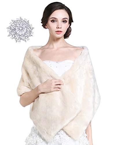 Aukmla - Chal - para mujer beige Marfil Talla única Chal Estola de Pelo Mujer para Invierno Fiesta Novia Bodas