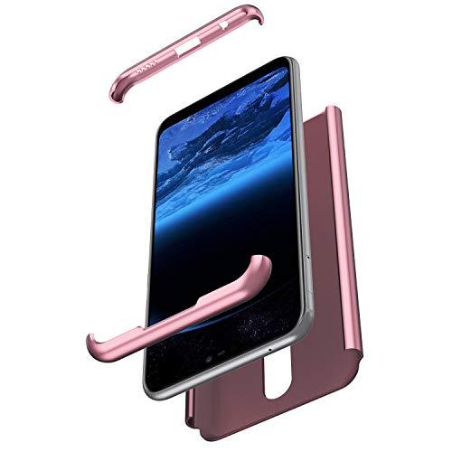 Saceebe Compatible avec Nokia X6 2018 Coque 360 Degrés Protection Housse complète Avant et arrière Etui Coque intégrale Full Body Cover Case PC Rigide Coque Anti-Rayures,Rose Gold