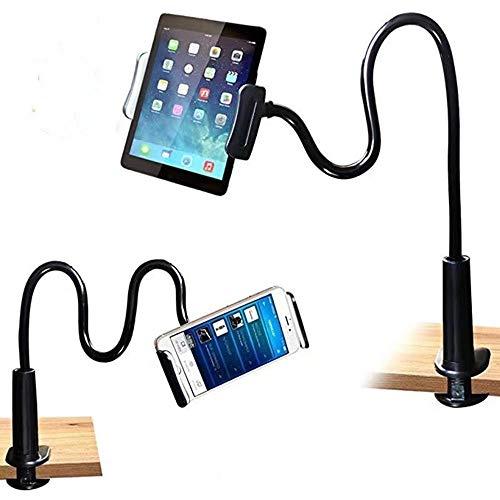 Soporte para tablet y teléfono móvil con cuello de cisne con brazo giratorio y ajustable a 360 grados, compatible con teléfonos móviles y tablets de 4,7 a 10,5 pulgadas (negro)