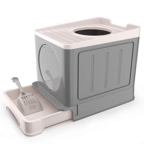 IKARE Caja de arena para gatos grande, entrada frontal y salida superior, caja de arena para gatos grande con cuchara de arena y bandeja retráctil 34 * 48 * 39 cm (gris)