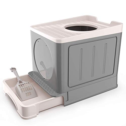 IKARE Large Cat Litter Box, Double-Door Cat Litter tray, Front Entry and...