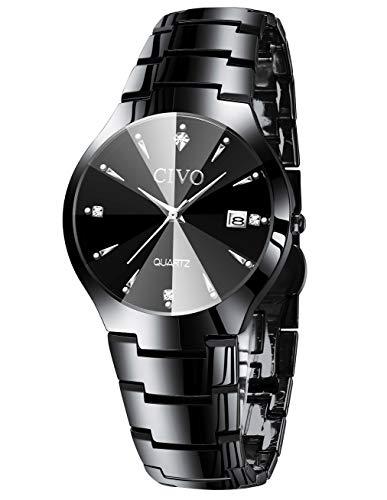 CIVO Relojes para Hombre Acero Inoxidable Impermeable Negro Reloj de Pulsera Fecha Calendario Clásicos Analogicos Reloj de Cuarzo Negocio Casual Simple con Correa de Negro