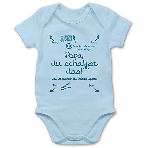 Shirtracer Strampler Motive - Papa du schaffst das Fußball Junge - 1/3 Monate - Babyblau - Baby Body mit sprüchen - BZ10 - Baby Body Kurzarm für Jungen und Mädchen