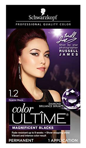 Schwarzkopf Color Ultime Permanent Hair Color Cream, 1.2 Scarlet Black (Packaging May Vary)
