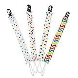 EXCEART 4Pcs Schnullerclips für Kleinkinder Schnullerklemme Kinderspielzeuggurt Mode Seilclips für Kleinkinder Babys