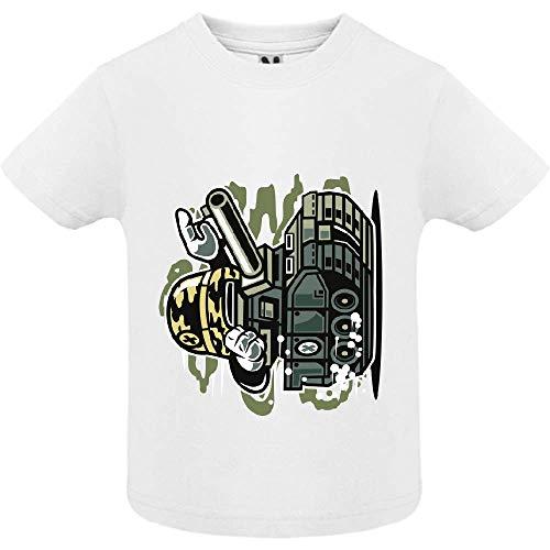 LookMyKase T-Shirt - War Tank - Bébé Garçon - Blanc - 12mois