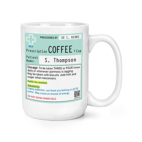 Taza de café personalizada con receta de 15 onzas, taza grande de trabajo, colega, divertida broma, taza de cerámica, taza de agua, café, té, taza de viaje, regalo para hombre y mujer