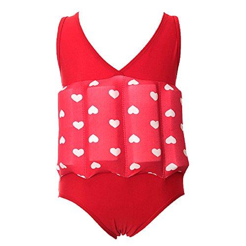 T&J Fashion - Costume da bagno per bambini, monopezzo, con bellissima arricciatura, Bambino, Red Hearts, S( 1-2 years, 6-10KG, 80-90cm Height)