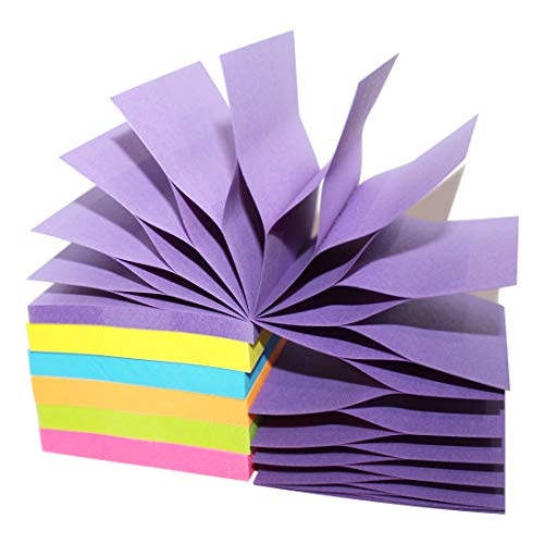 MQLH-TECH Pop Up Sticky Notes 3x3 Refills Easy Post Notes Self Stick Notes Bright Rainbow Colors Super Adhesive Pop-up Notes 6 Pads 100 Sheets/Pad Individual Package 600 Sheet Total