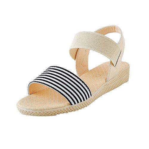 Sunenjoy Chaussures Sandales Femmes Plates Été de Plage Rayure Pantoufles Chic Bouts Ouverts Anti Dérapage Confortables (35 EU, Beige)