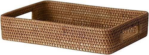 MVNZXL Cesta de Almacenamiento de ratán, bandejas organizadoras rectangulares Tejidas a Mano, cestas de Mimbre para Sala de Estar, Pan doméstico y té de Frutas(Size:X-Large)