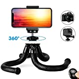 Phone Tripod, Auto Tech TravelPod 12' Portable and Adjustable Camera Stand Holder with Wireless Remote and Universal Clip, Compatible with all iPhone & Android Phones, Cameras, Action Cameras & GoPros