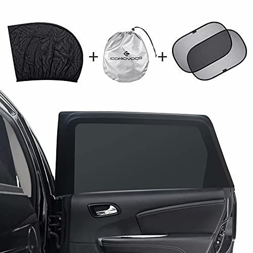 Auto Sonnenschutz, conovoco Universal Sonnenblende Auto mit Zertifiziertem UV Schutz Seitenfenster Meshmaterial, Selbsthaftende Fensterschutz für Baby Kinder Haustiere 4 Stück