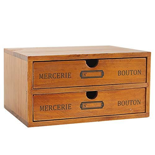Baffect Desktop Schubladenbox Holz 2 Stöckig Aufbewahrungsbox mit Schubladen Vintage Schmuckkästchen Holzkästchen Holzbox mit Schubfach Organizer Holz Tischkommode zur Aufbewahrung, 2 Etage