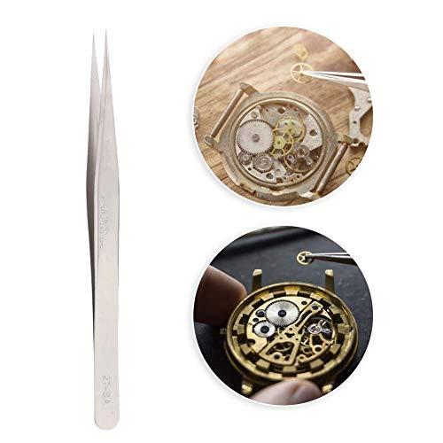 Salmue Pinzas de precisión para Relojes y Joyas, Pinzas antimagnéticas Pinzas de Reloj de Acero Inoxidable de Alta dureza + Pinzas de reparación de Relojes para Hombres y Mujeres(4#)